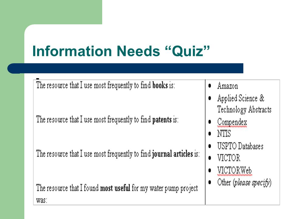 Information Needs Quiz