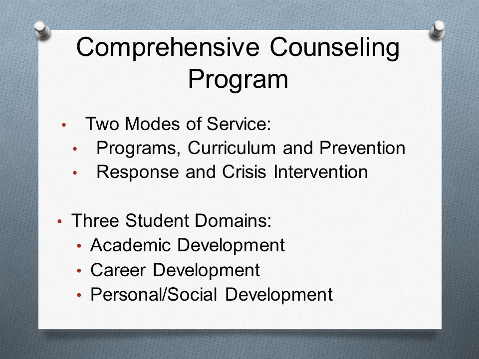 Comprehensive Counseling Program Two Modes of Service: Programs, Curriculum and Prevention Response and Crisis Intervention Three Student Domains: Academic Development Career Development Personal/Social Development