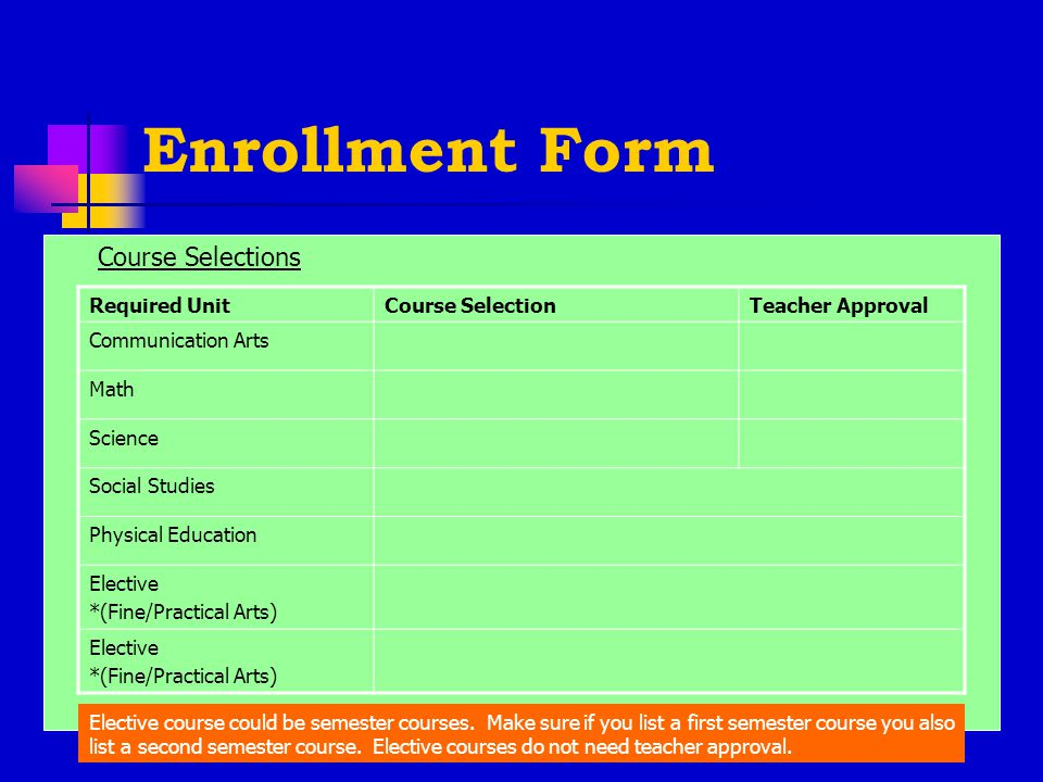Enrollment Form Required UnitCourse SelectionTeacher Approval Communication Arts Math Science Social Studies Physical Education Elective *(Fine/Practical Arts) Elective *(Fine/Practical Arts) Course Selections Elective course could be semester courses.