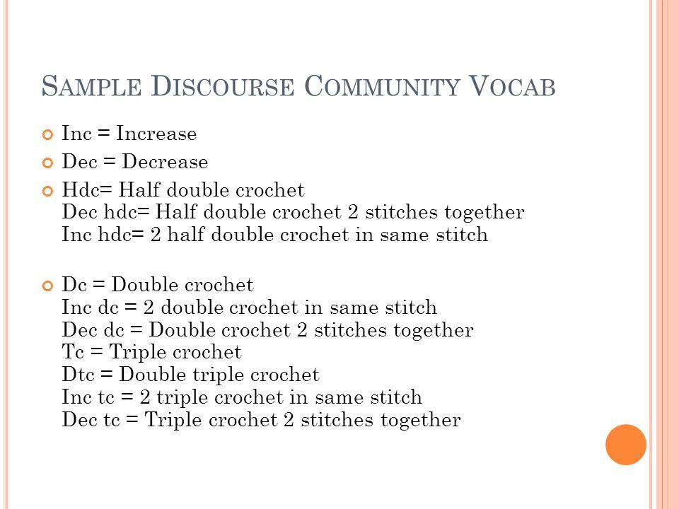 S AMPLE D ISCOURSE C OMMUNITY V OCAB Inc = Increase Dec = Decrease Hdc= Half double crochet Dec hdc= Half double crochet 2 stitches together Inc hdc=