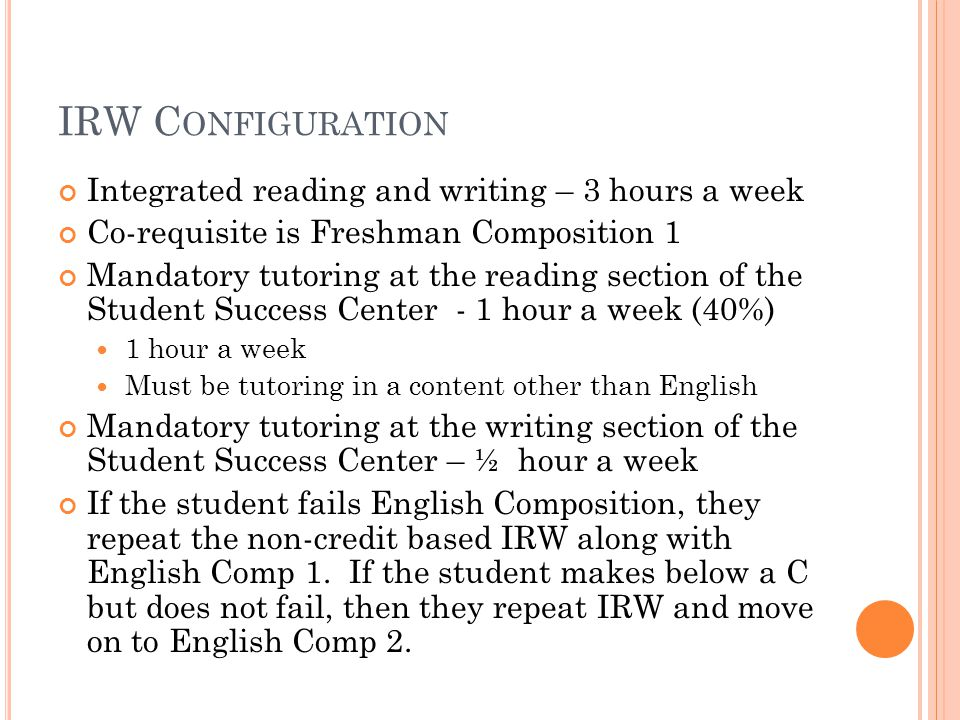 IRW C ONFIGURATION Integrated reading and writing – 3 hours a week Co-requisite is Freshman Composition 1 Mandatory tutoring at the reading section of the Student Success Center - 1 hour a week (40%) 1 hour a week Must be tutoring in a content other than English Mandatory tutoring at the writing section of the Student Success Center – ½ hour a week If the student fails English Composition, they repeat the non-credit based IRW along with English Comp 1.