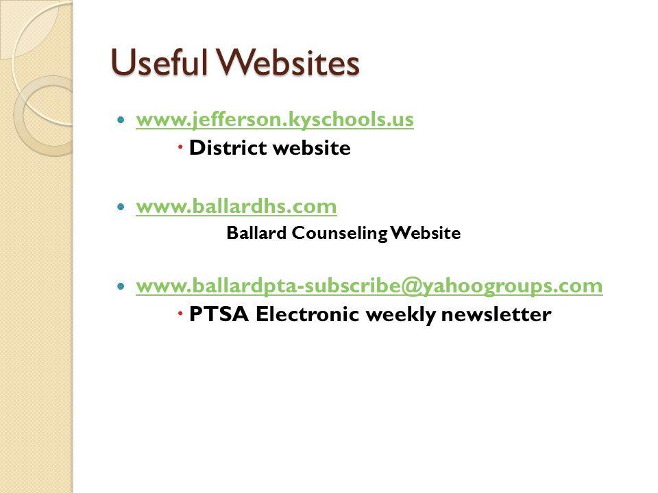 Useful Websites www.jefferson.kyschools.us  District website www.ballardhs.com Ballard Counseling Website www.ballardpta-subscribe@yahoogroups.com  PTSA Electronic weekly newsletter