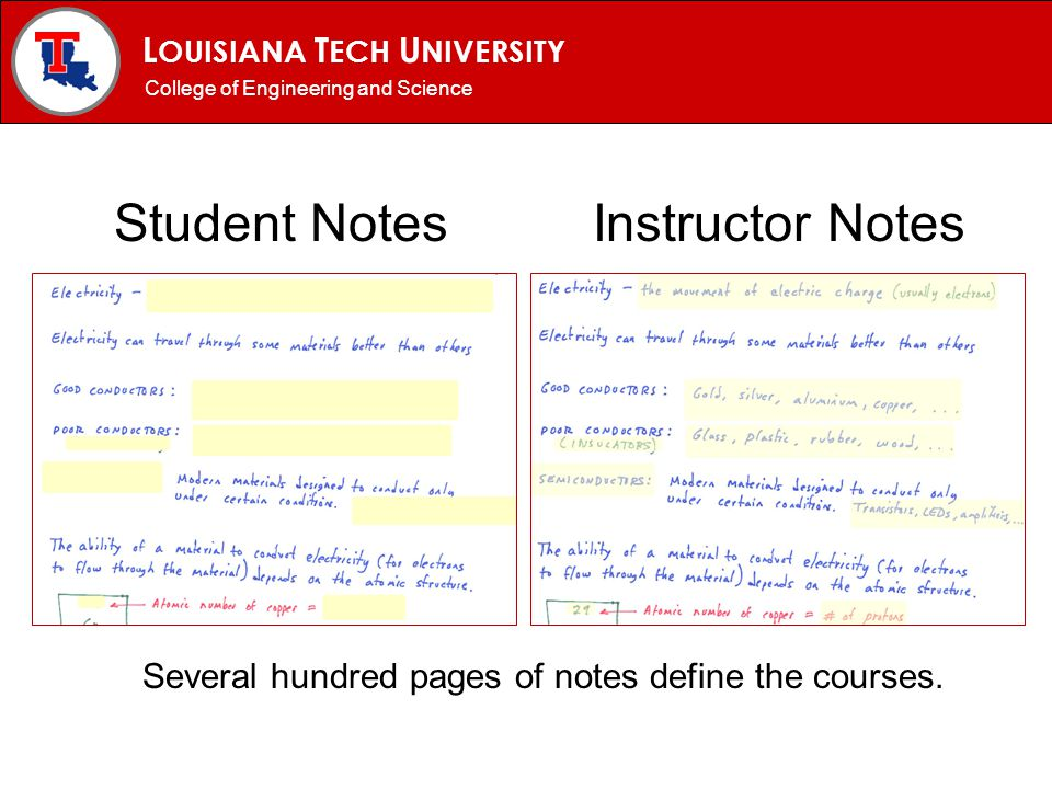 L OUISIANA T ECH U NIVERSITY MECHANICAL ENGINEERING PROGRAM Student Notes Instructor Notes Several hundred pages of notes define the courses.