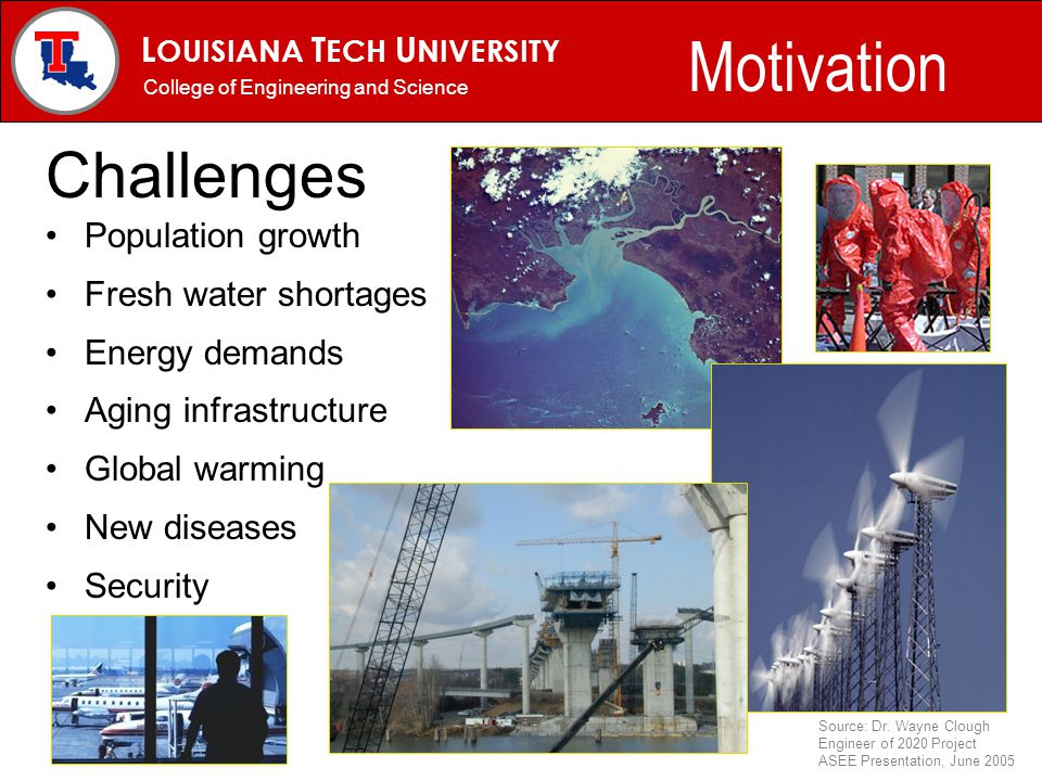L OUISIANA T ECH U NIVERSITY MECHANICAL ENGINEERING PROGRAM Challenges Population growth Fresh water shortages Energy demands Aging infrastructure Global warming New diseases Security College of Engineering and Science Motivation Source: Dr.