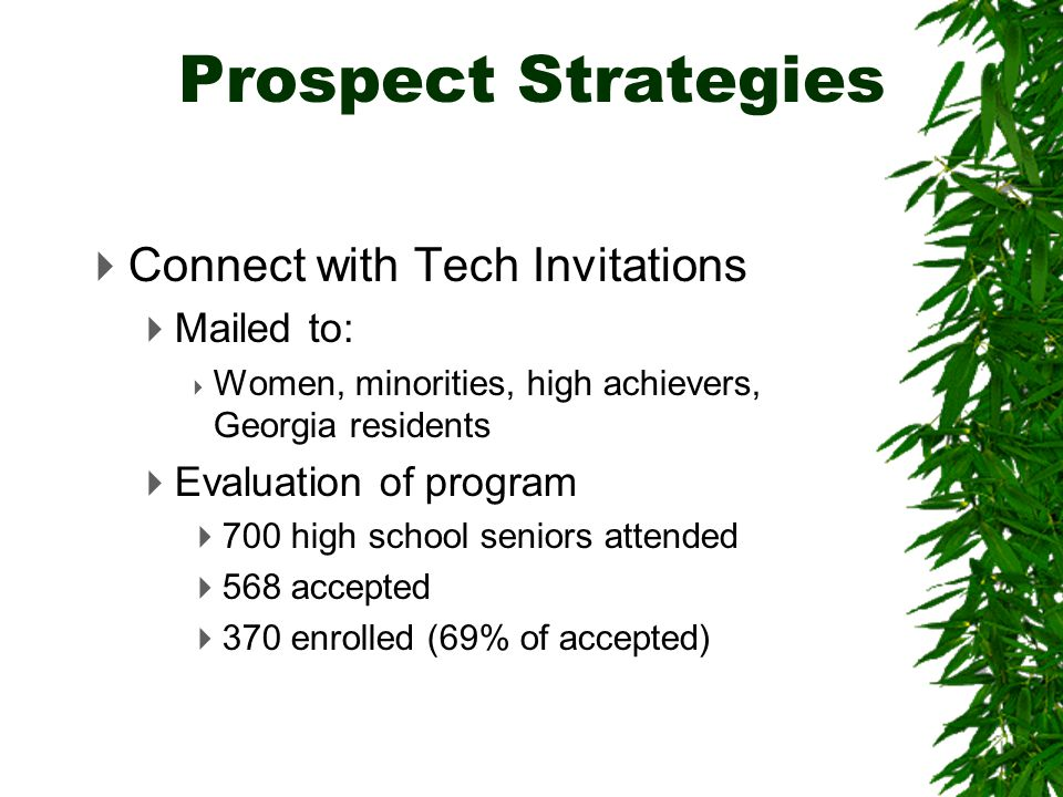  Connect with Tech Invitations  Mailed to:  Women, minorities, high achievers, Georgia residents  Evaluation of program  700 high school seniors attended  568 accepted  370 enrolled (69% of accepted) Prospect Strategies