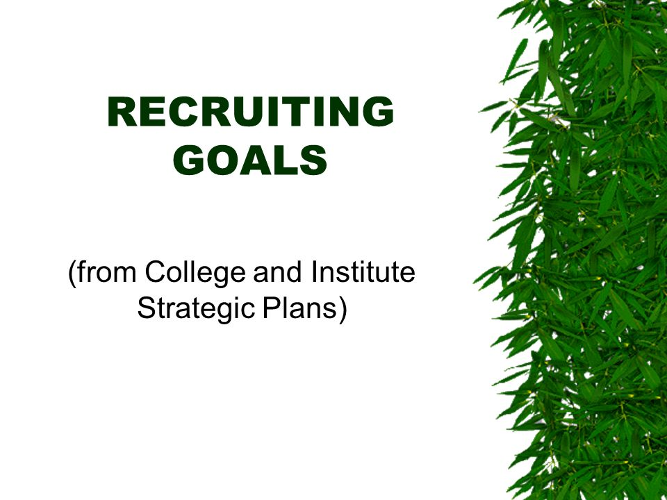 RECRUITING GOALS (from College and Institute Strategic Plans)