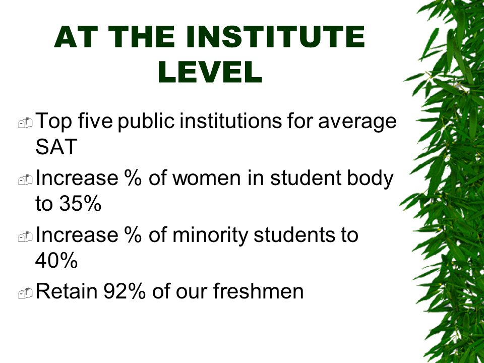 AT THE INSTITUTE LEVEL  Top five public institutions for average SAT  Increase % of women in student body to 35%  Increase % of minority students to 40%  Retain 92% of our freshmen