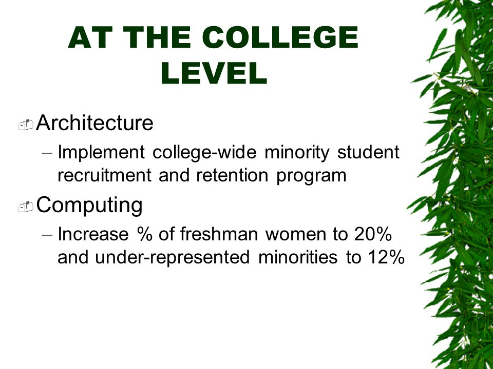 AT THE COLLEGE LEVEL  Architecture –Implement college-wide minority student recruitment and retention program  Computing –Increase % of freshman women to 20% and under-represented minorities to 12%