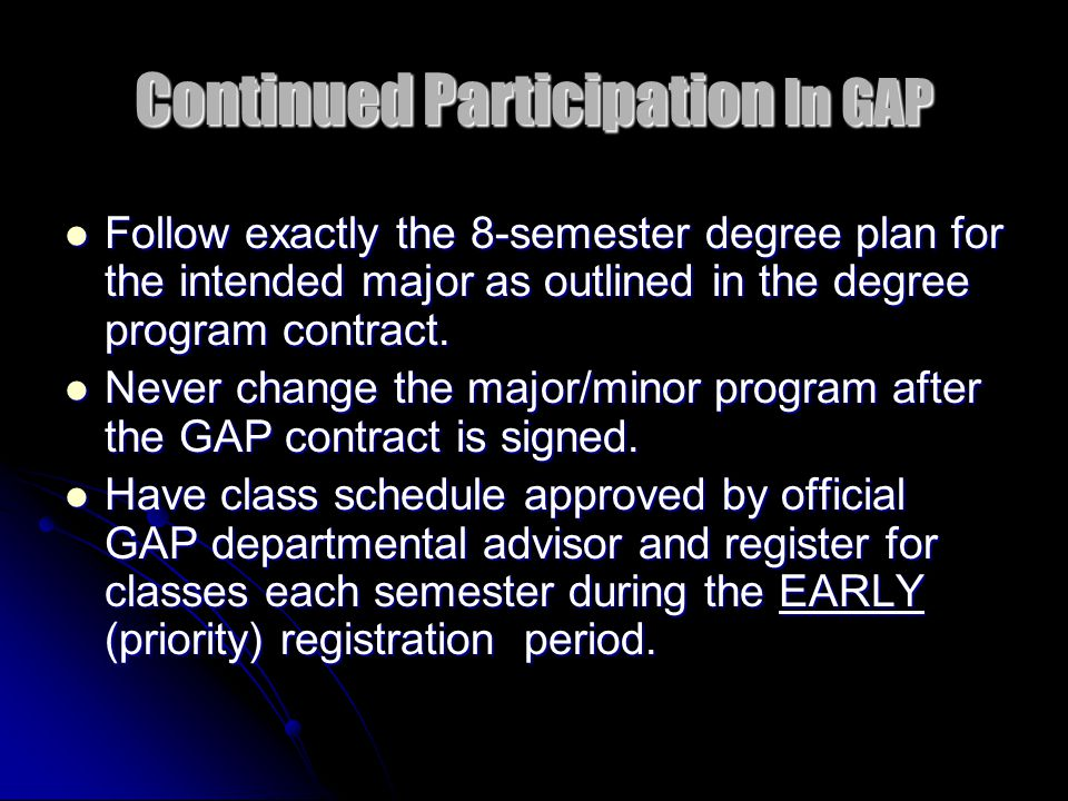 The Appointment Explain the following … GAP Degree Plan Contract GAP Degree Plan Contract UALR's Core Curriculum UALR's Core Curriculum Recommended prerequisites for core courses Recommended prerequisites for core courses Meaning of department codes and course numbers (MATH 1302) Meaning of department codes and course numbers (MATH 1302) Requirements needed to declare major (student can not declare major until all departmental admission requirements have been satisfied) Requirements needed to declare major (student can not declare major until all departmental admission requirements have been satisfied)