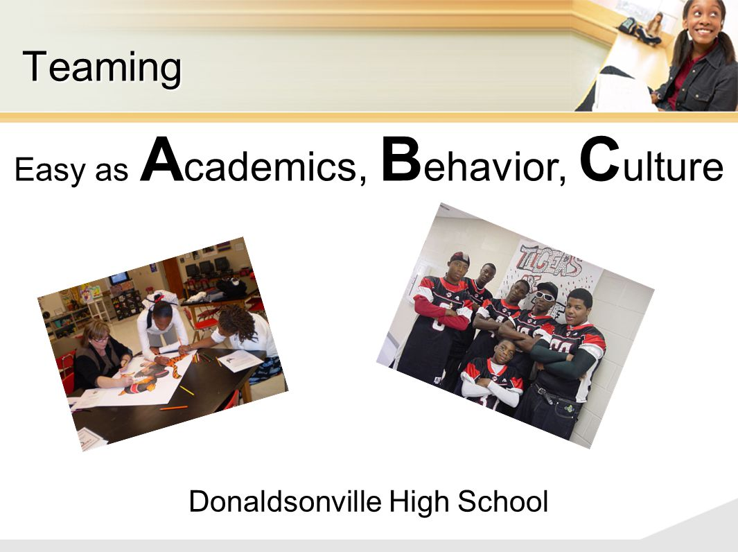 Donaldsonville High School Teaming Easy as A cademics, B ehavior, C ulture