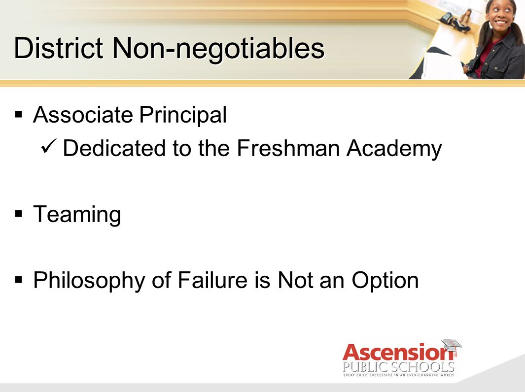 District Non-negotiables  Associate Principal Dedicated to the Freshman Academy  Teaming  Philosophy of Failure is Not an Option