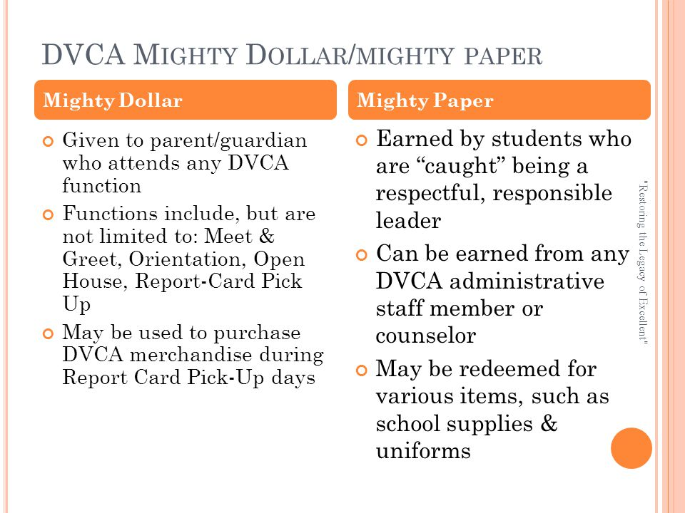 DVCA M IGHTY D OLLAR / MIGHTY PAPER Given to parent/guardian who attends any DVCA function Functions include, but are not limited to: Meet & Greet, Orientation, Open House, Report-Card Pick Up May be used to purchase DVCA merchandise during Report Card Pick-Up days Earned by students who are caught being a respectful, responsible leader Can be earned from any DVCA administrative staff member or counselor May be redeemed for various items, such as school supplies & uniforms Mighty DollarMighty Paper Restoring the Legacy of Excellent