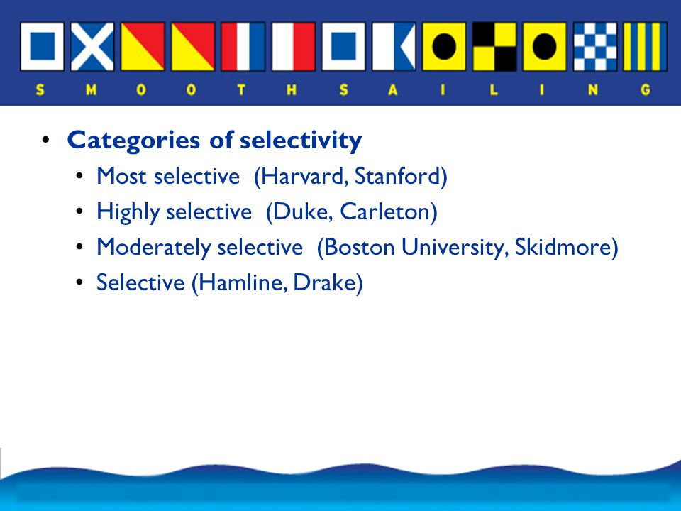 Categories of selectivity Most selective (Harvard, Stanford) Highly selective (Duke, Carleton) Moderately selective (Boston University, Skidmore) Selective (Hamline, Drake)