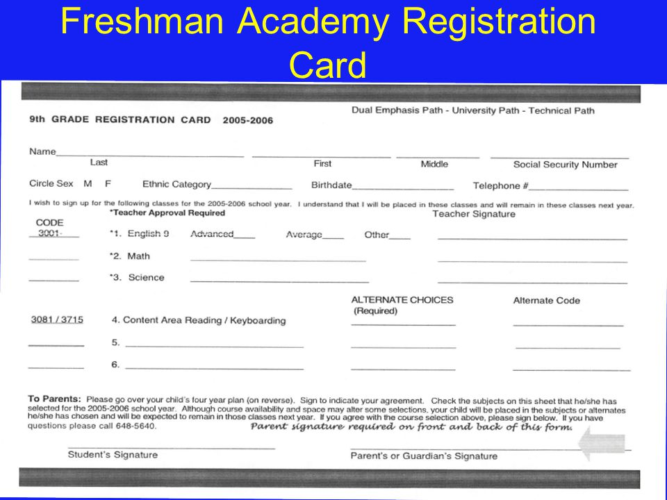 Freshman Academy Registration Card