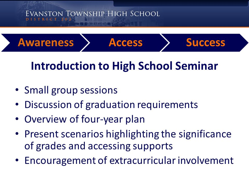 AwarenessAccessSuccess Introduction to High School Seminar Small group sessions Discussion of graduation requirements Overview of four-year plan Present scenarios highlighting the significance of grades and accessing supports Encouragement of extracurricular involvement