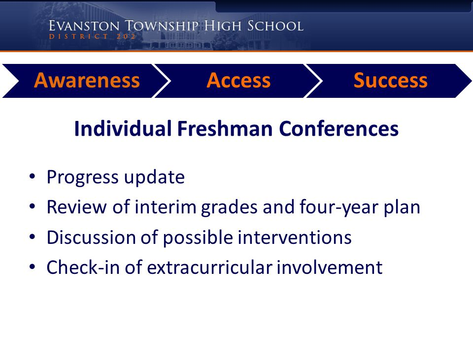 AwarenessAccessSuccess Individual Freshman Conferences Progress update Review of interim grades and four-year plan Discussion of possible intervention