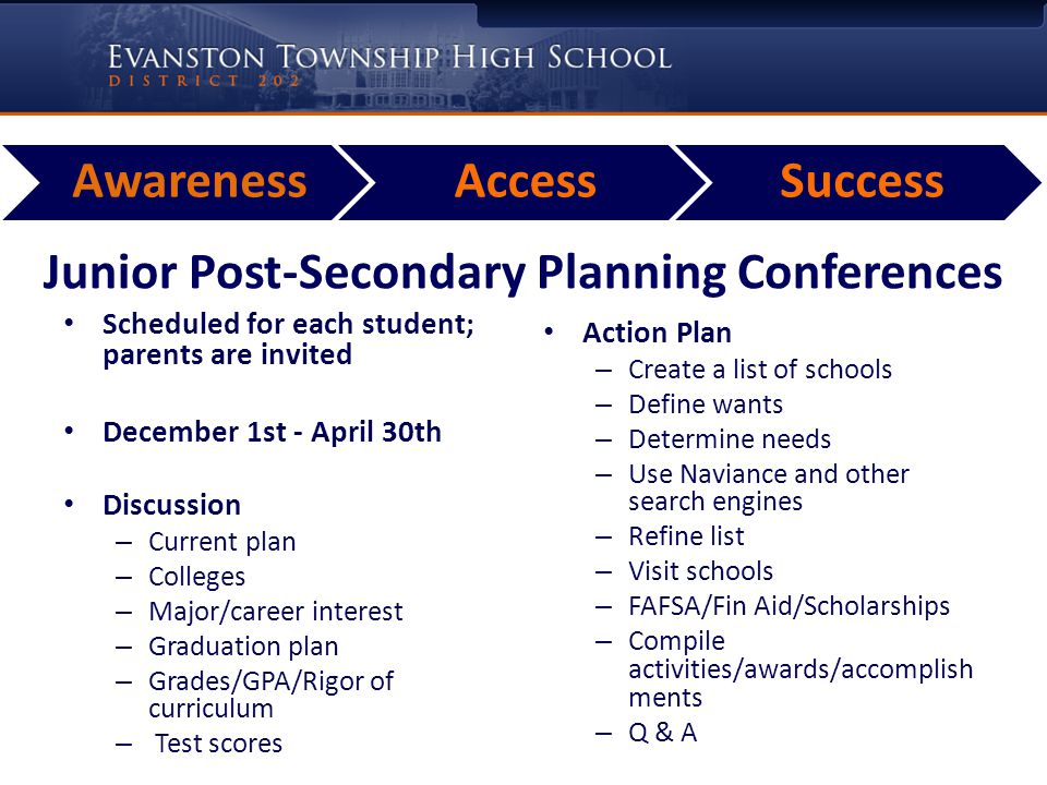 AwarenessAccessSuccess Junior Post-Secondary Planning Conferences Scheduled for each student; parents are invited December 1st - April 30th Discussion – Current plan – Colleges – Major/career interest – Graduation plan – Grades/GPA/Rigor of curriculum – Test scores Action Plan – Create a list of schools – Define wants – Determine needs – Use Naviance and other search engines – Refine list – Visit schools – FAFSA/Fin Aid/Scholarships – Compile activities/awards/accomplish ments – Q & A