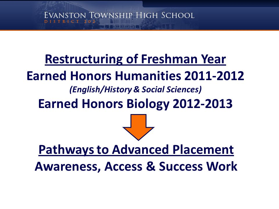Restructuring of Freshman Year Earned Honors Humanities 2011-2012 (English/History & Social Sciences) Earned Honors Biology 2012-2013 Pathways to Advanced Placement Awareness, Access & Success Work