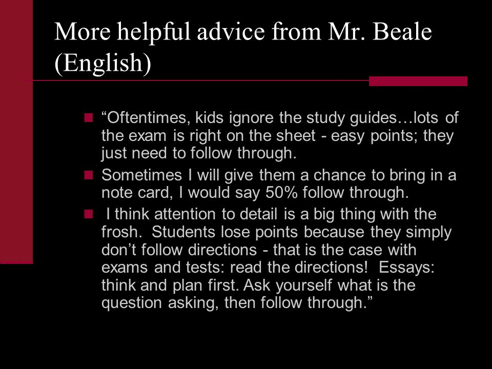More helpful advice from Mr.
