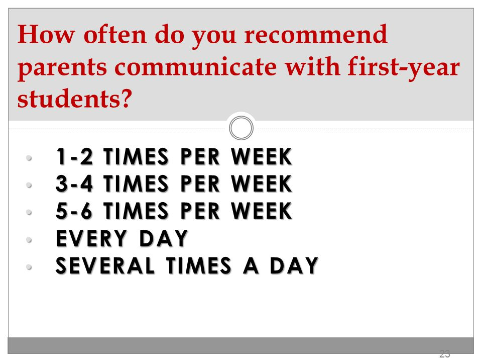 1. 1-2 TIMES PER WEEK 2.3-4 TIMES PER WEEK 3. SEVERAL TIMES PER DAY OR EVERY DAY 22 How often did you communicate with your parents?