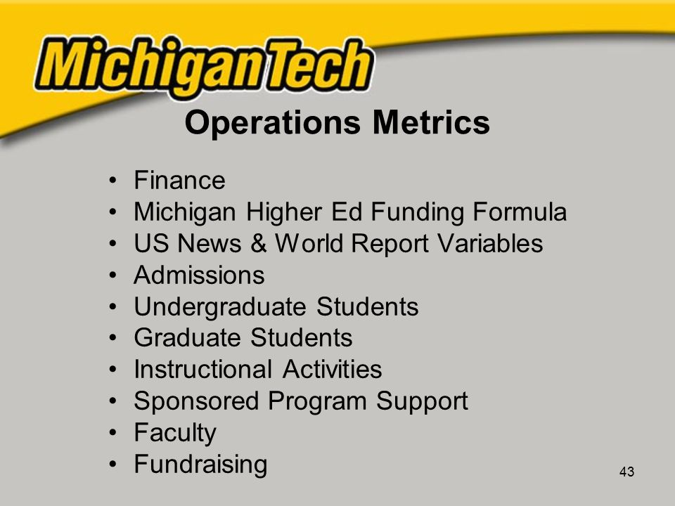 43 Operations Metrics Finance Michigan Higher Ed Funding Formula US News & World Report Variables Admissions Undergraduate Students Graduate Students