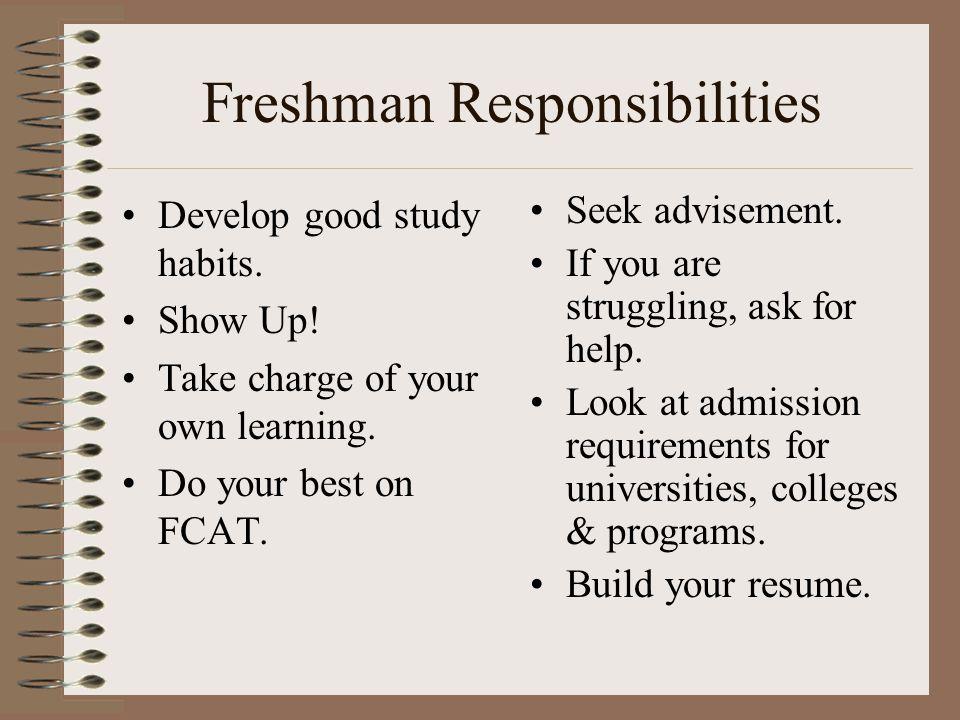 Freshman Responsibilities Develop good study habits.