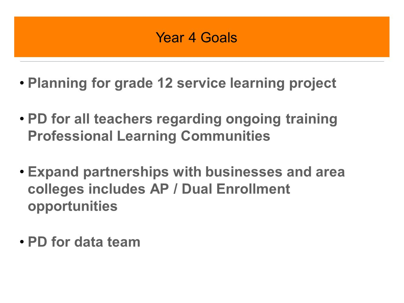 Implement Grade 12 service learning project Review of progress towards achievement of overall goals yearly Planning for full sustainability of all programs and structures beyond grant Year 5 Goals
