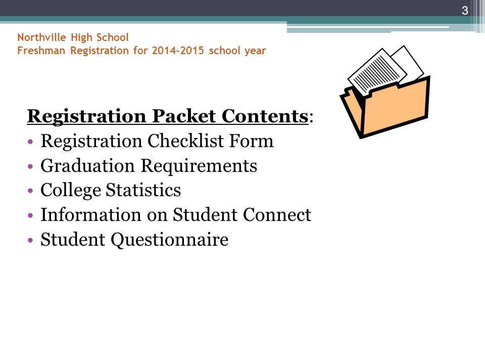 Northville High School Freshman Registration for 2014-2015 school year Registration Packet Contents: Registration Checklist Form Graduation Requirements College Statistics Information on Student Connect Student Questionnaire 3