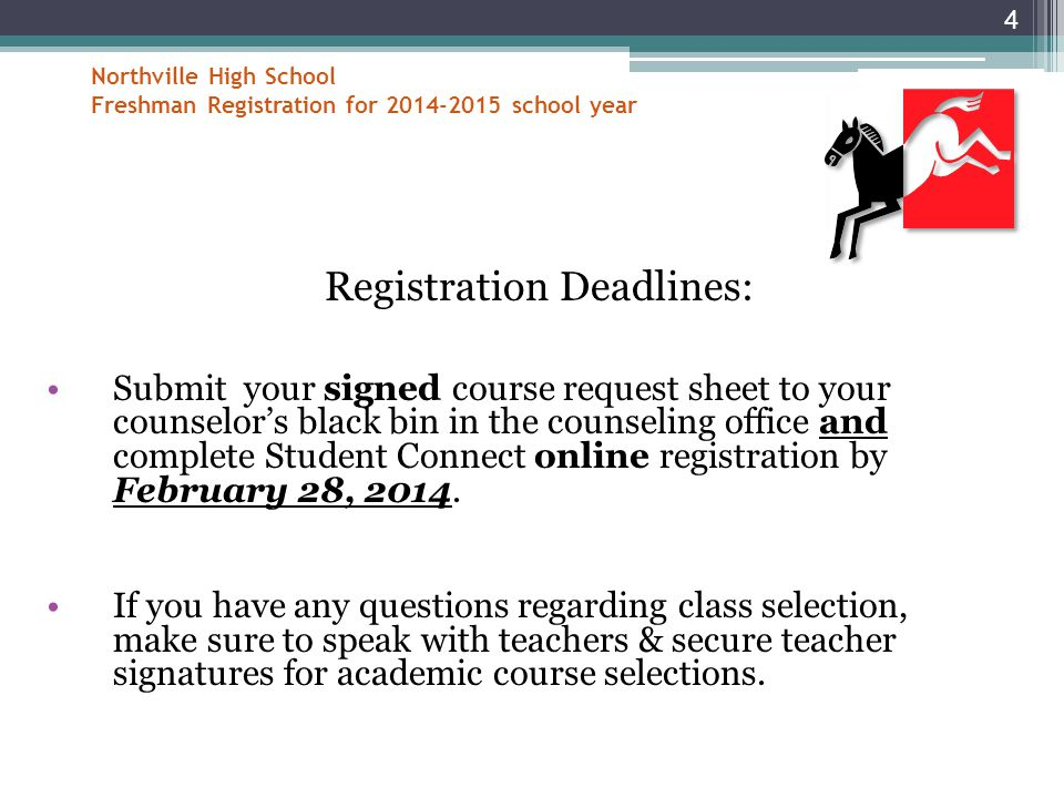 Northville High School Freshman Registration for 2014-2015 school year Registration Deadlines: Submit your signed course request sheet to your counselor's black bin in the counseling office and complete Student Connect online registration by February 28, 2014.