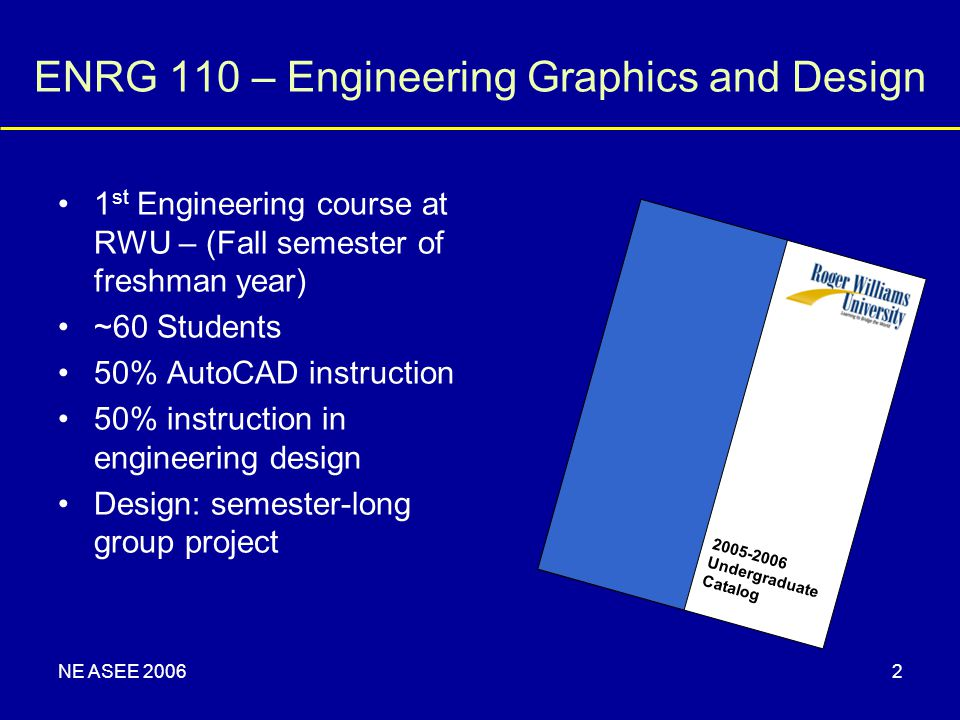 NE ASEE 20062 ENRG 110 – Engineering Graphics and Design 1 st Engineering course at RWU – (Fall semester of freshman year) ~60 Students 50% AutoCAD in
