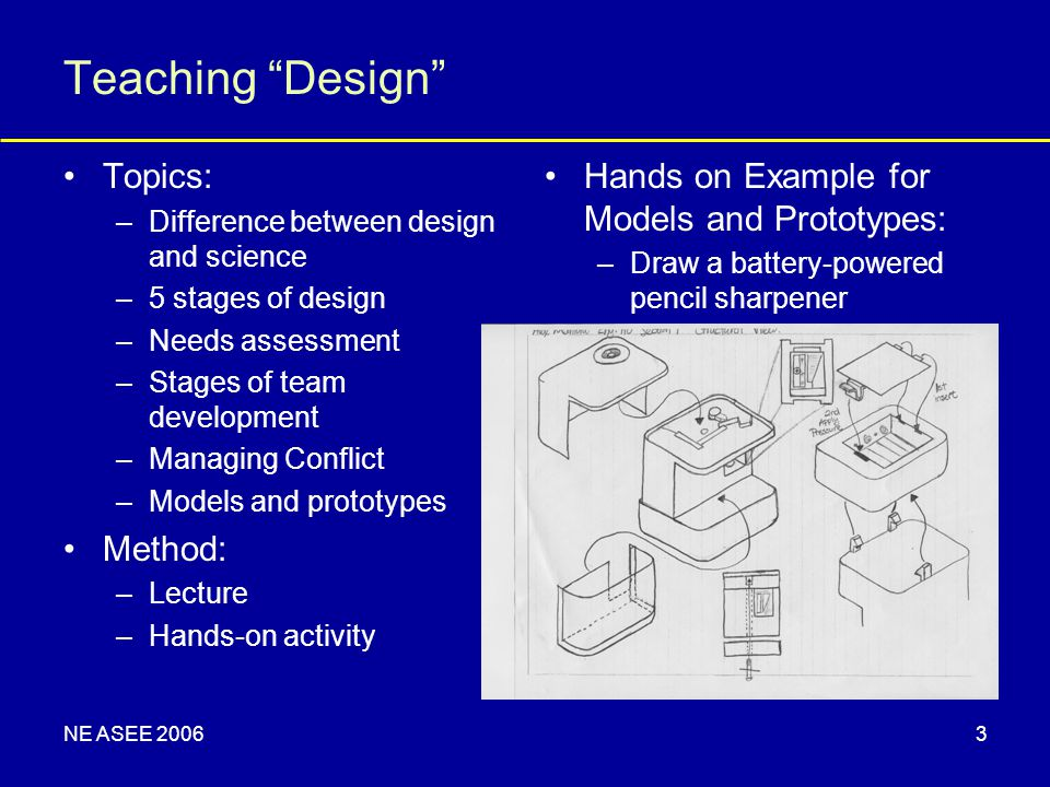 "NE ASEE 20063 Teaching ""Design"" Topics: –Difference between design and science –5 stages of design –Needs assessment –Stages of team development –Mana"