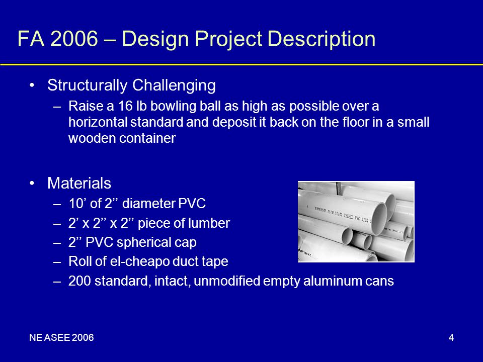 NE ASEE 20064 FA 2006 – Design Project Description Structurally Challenging –Raise a 16 lb bowling ball as high as possible over a horizontal standard
