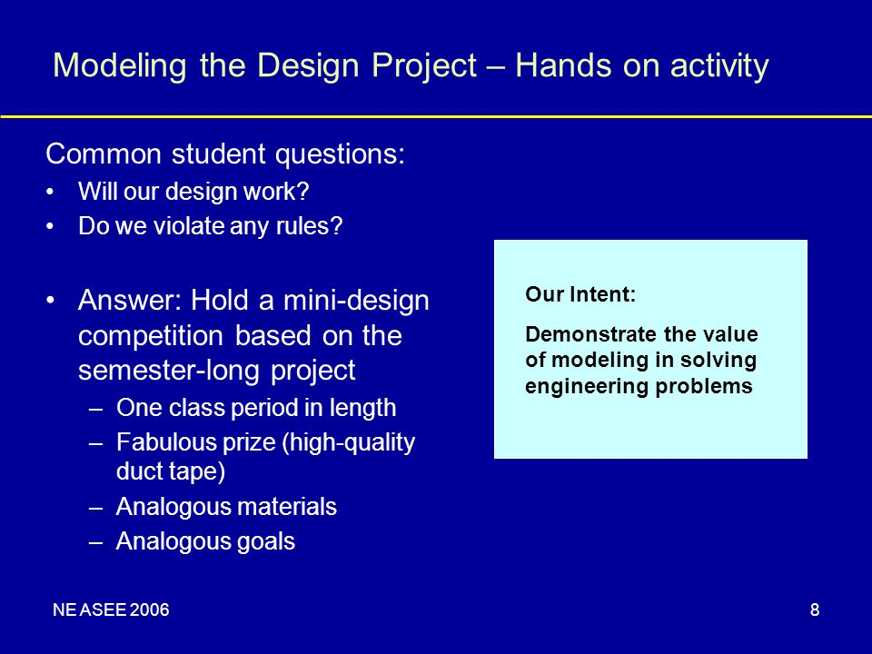 NE ASEE 20068 Modeling the Design Project – Hands on activity Common student questions: Will our design work.