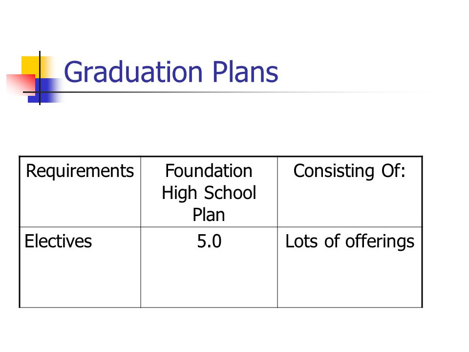Graduation Plans RequirementsFoundation High School Plan Consisting Of: Electives5.0Lots of offerings