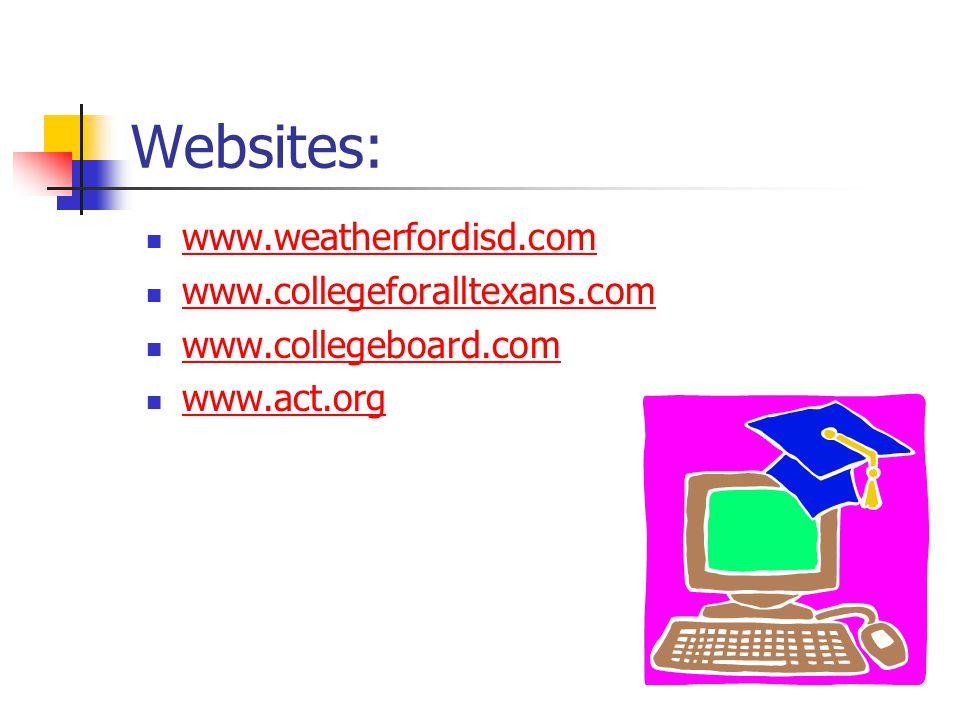 Websites: www.weatherfordisd.com www.collegeforalltexans.com www.collegeboard.com www.act.org