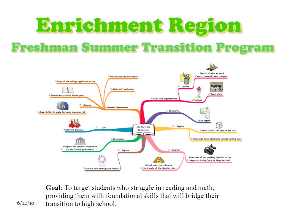 6/14/10 Goal: To target students who struggle in reading and math, providing them with foundational skills that will bridge their transition to high school.