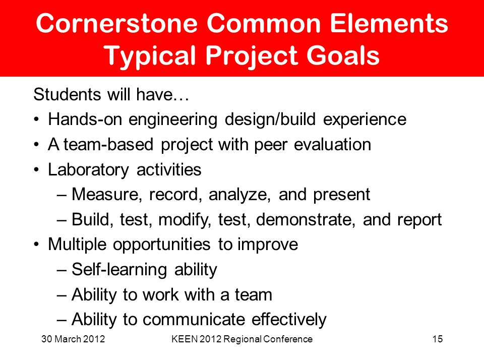 Cornerstone Common Elements Typical Project Goals Students will have… Hands-on engineering design/build experience A team-based project with peer eval