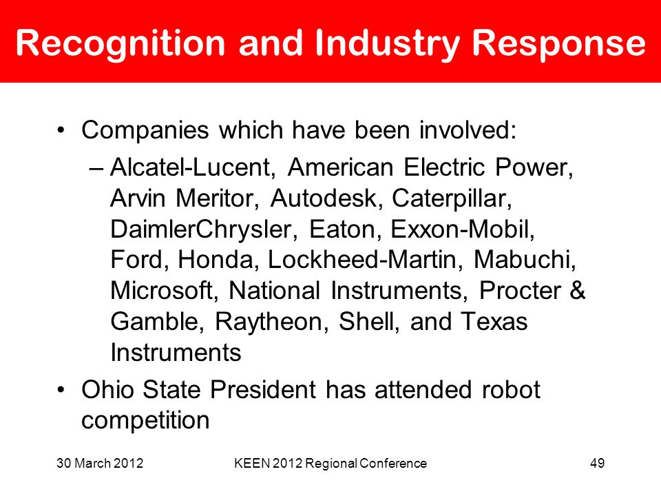 30 March 2012KEEN 2012 Regional Conference49 Recognition and Industry Response Companies which have been involved: –Alcatel-Lucent, American Electric