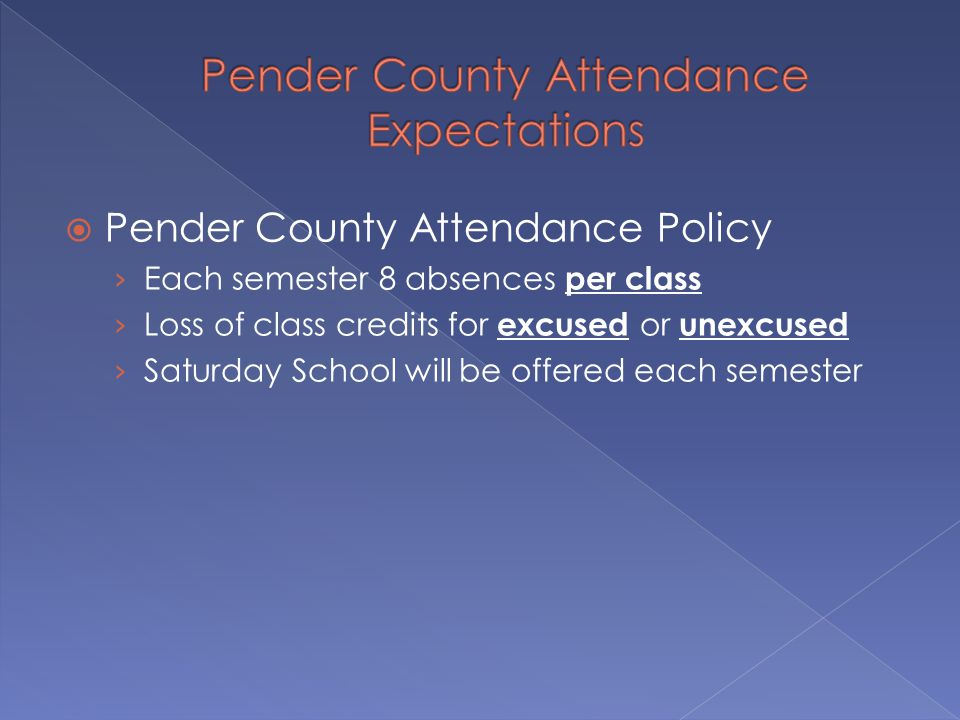  Pender County Attendance Policy › Each semester 8 absences per class › Loss of class credits for excused or unexcused › Saturday School will be offered each semester