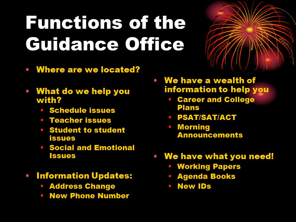 Functions of the Guidance Office Where are we located? What do we help you with? Schedule issues Teacher issues Student to student issues Social and E