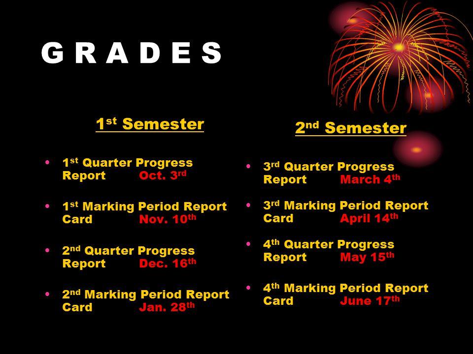 G R A D E S 1 st Semester 1 st Quarter Progress Report Oct.