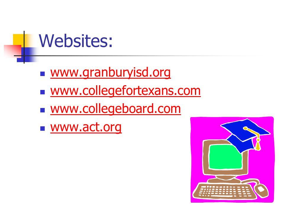 Websites: www.granburyisd.org www.collegefortexans.com www.collegeboard.com www.act.org