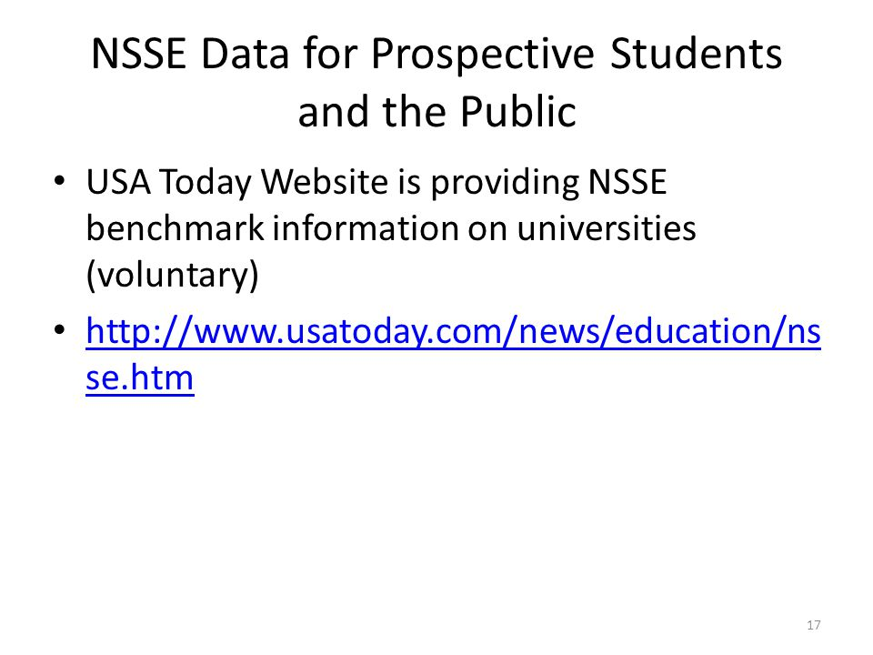 USA Today Website is providing NSSE benchmark information on universities (voluntary) http://www.usatoday.com/news/education/ns se.htm http://www.usatoday.com/news/education/ns se.htm NSSE Data for Prospective Students and the Public 17