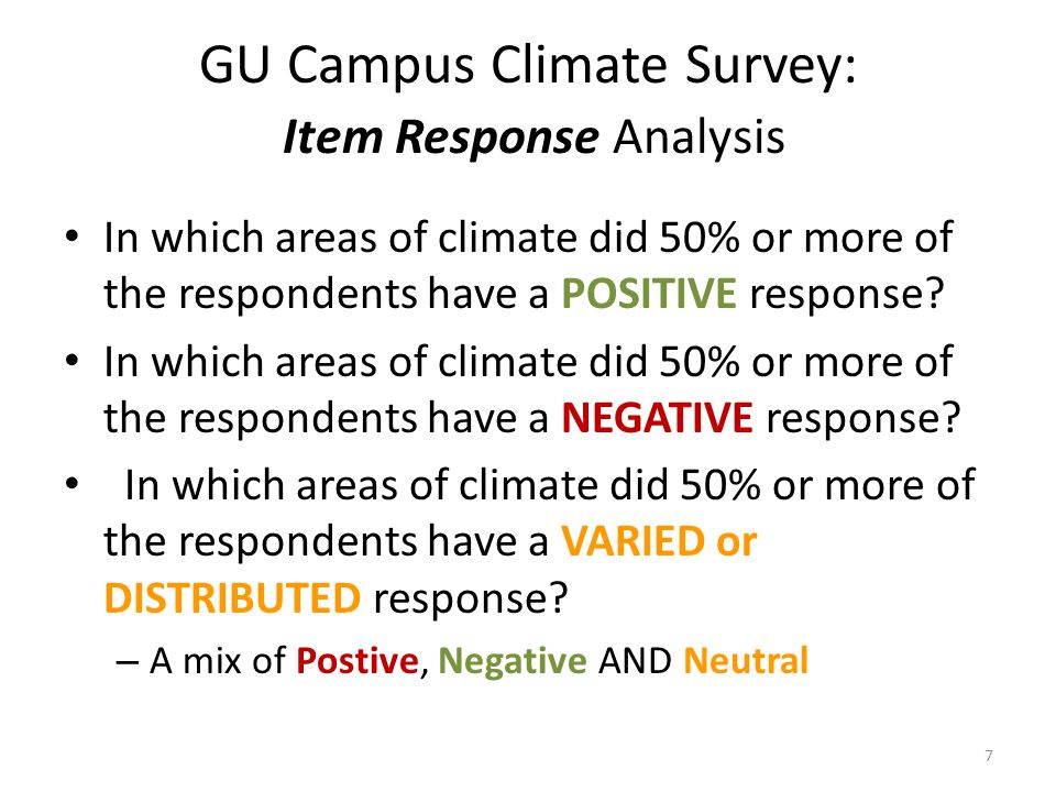 GU Campus Climate Survey: Item Response Analysis In which areas of climate did 50% or more of the respondents have a POSITIVE response.