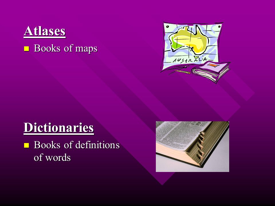 Atlases Books of maps Books of mapsDictionaries Books of definitions of words Books of definitions of words