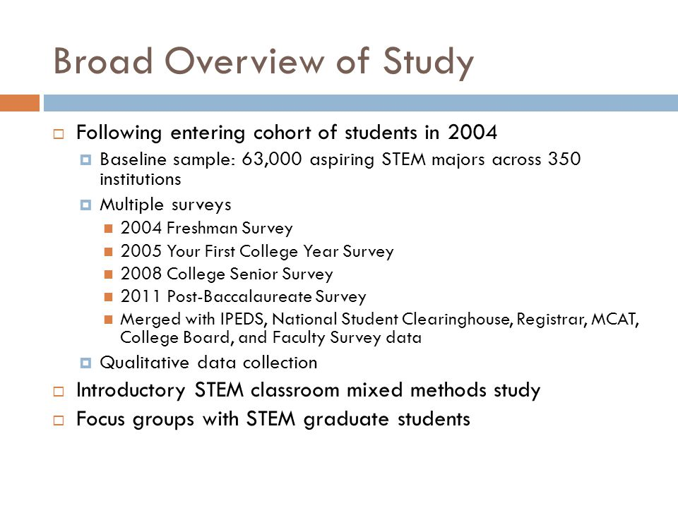 Broad Overview of Study  Following entering cohort of students in 2004  Baseline sample: 63,000 aspiring STEM majors across 350 institutions  Multiple surveys 2004 Freshman Survey 2005 Your First College Year Survey 2008 College Senior Survey 2011 Post-Baccalaureate Survey Merged with IPEDS, National Student Clearinghouse, Registrar, MCAT, College Board, and Faculty Survey data  Qualitative data collection  Introductory STEM classroom mixed methods study  Focus groups with STEM graduate students