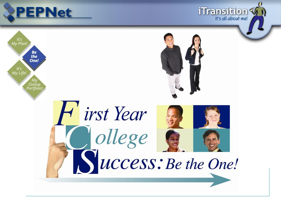  Background Information  Overview of Be the One!  Tips for Navigating  The Four Days of Freshman Orientation  Key Points to Remember This PowerPoint will teach you about the second training in PEPNet's iTransition, First Year College Success: Be the One!