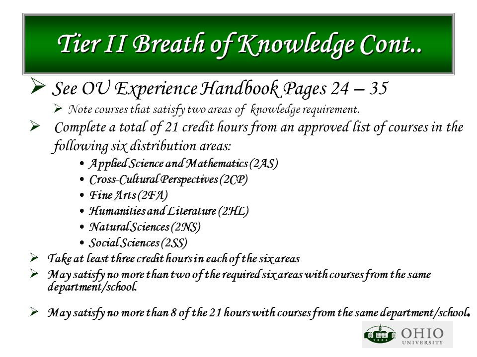 Tier II Breath of Knowledge Cont..