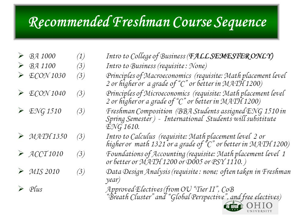 Recommended Freshman Course Sequence  BA 1000 (1)Intro to College of Business (FALL SEMESTER ONLY)  BA 1100 (3)Intro to Business (requisite : None)