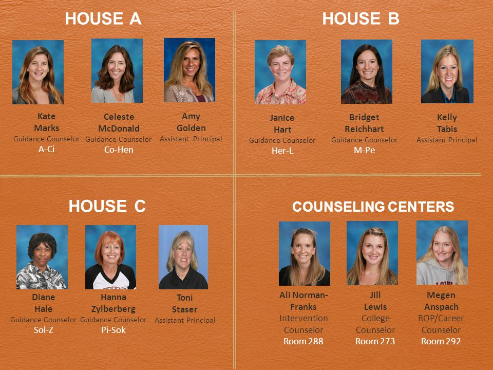 HOUSE A HOUSE B HOUSE C COUNSELING CENTERS Kate Marks Guidance Counselor A-Ci Celeste McDonald Guidance Counselor Co-Hen Janice Hart Guidance Counselor Her-L Bridget Reichhart Guidance Counselor M-Pe Diane Hale Guidance Counselor Sol-Z Hanna Zylberberg Guidance Counselor Pi-Sok Ali Norman- Franks Intervention Counselor Room 288 Jill Lewis College Counselor Room 273 Megen Anspach ROP/Career Counselor Room 292 Kelly Tabis Assistant Principal Toni Staser Assistant Principal Amy Golden Assistant Principal
